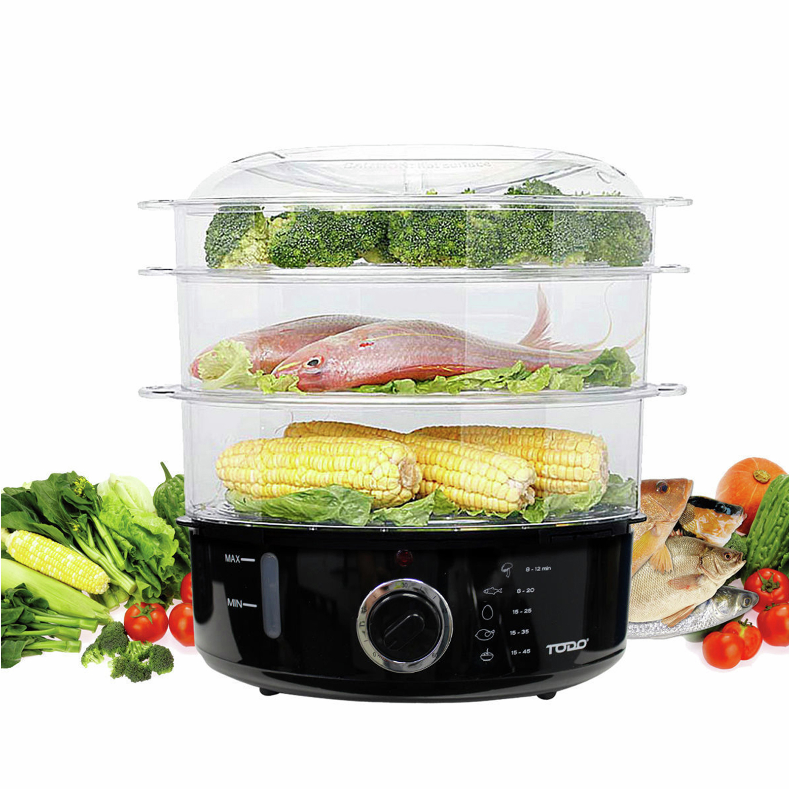 TODO 800W 9L Electric Steam Cooker Steamer 3 Tray