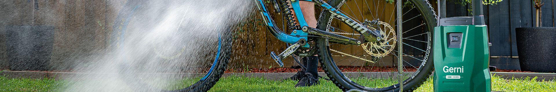 gerni pressure washer used to clean a bike