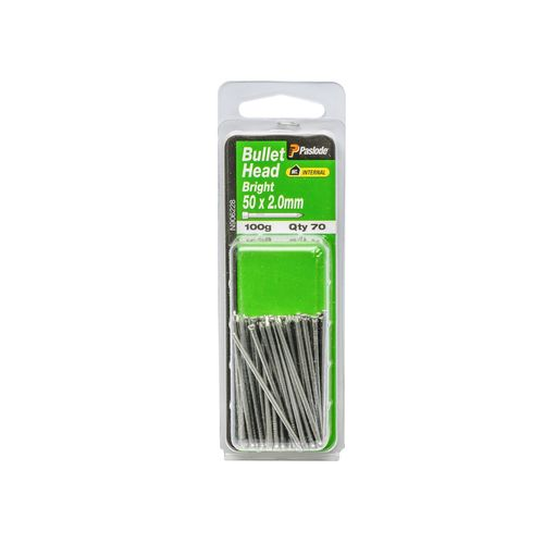 Paslode 50 x 2.0mm 100g Bright Steel Bullet Head Nails - 70 Pack