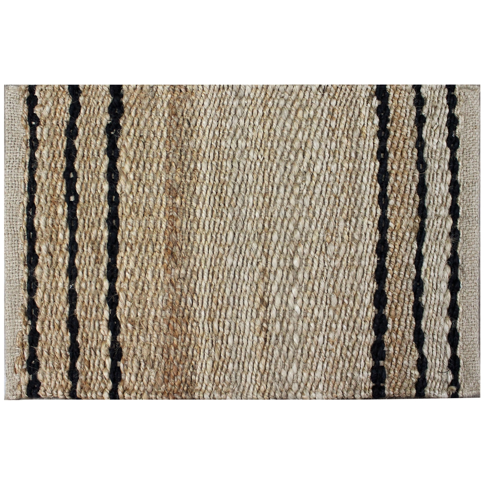 Home Bazar 60 x 40cm Black Stripes Hamptons Jute Mat