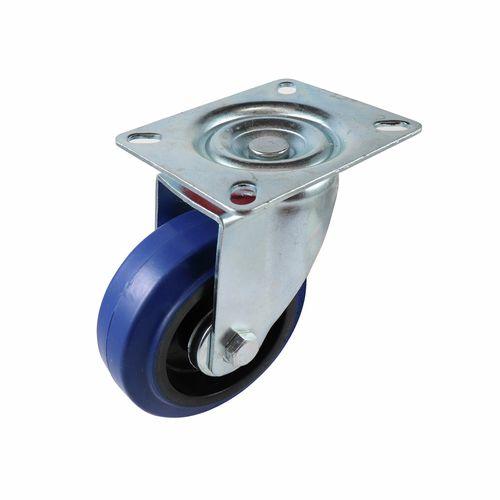 Easyroll 100mm 150kg Blue Rubber Heavy Duty Swivel Castor
