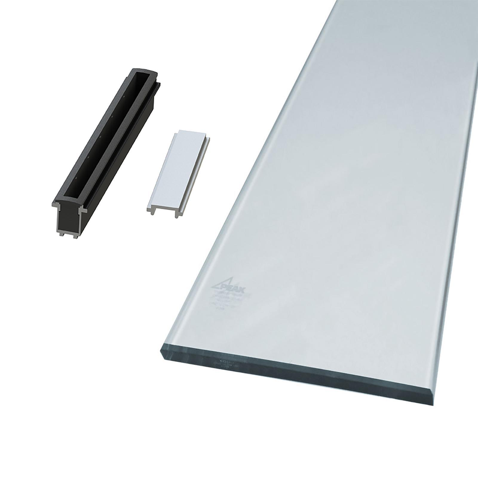 Peak Products 1800mm Silver Aluminium Balustrade Sectional Glass Kit With Clear Glass Panels