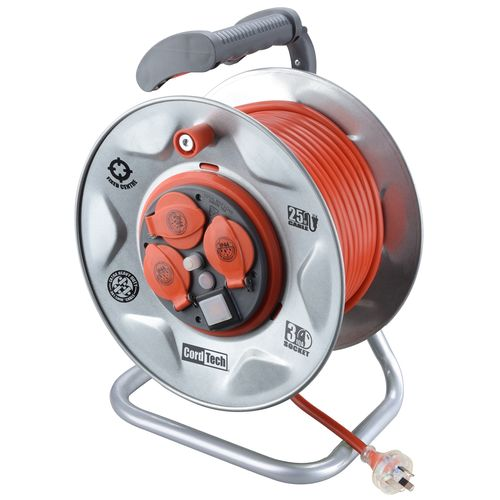 CordTech 25m Heavy Duty Steel Cable Reel With 3 Outlets