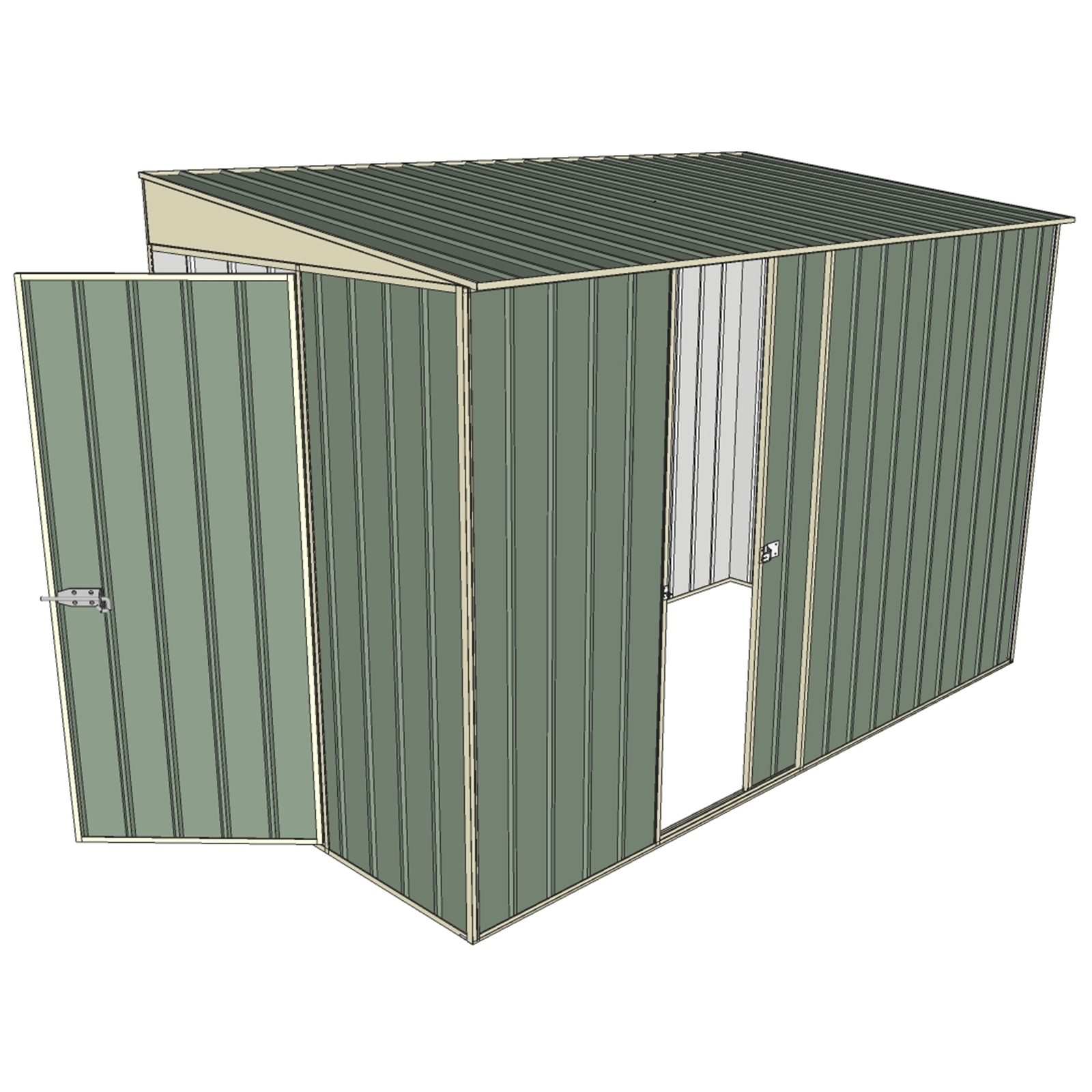 Build-a-Shed 1.5 x 3 x 2m Hinged Door Tunnel Shed with Hinged Side Door - Green