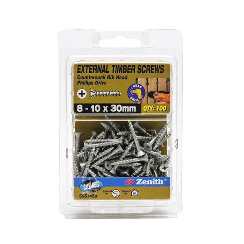 Zenith 8 - 10 x 30mm Galvanised Countersunk Rib Head Timber Screws - 100 Pack