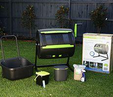 Compost tumbler bin and small food scrap bins