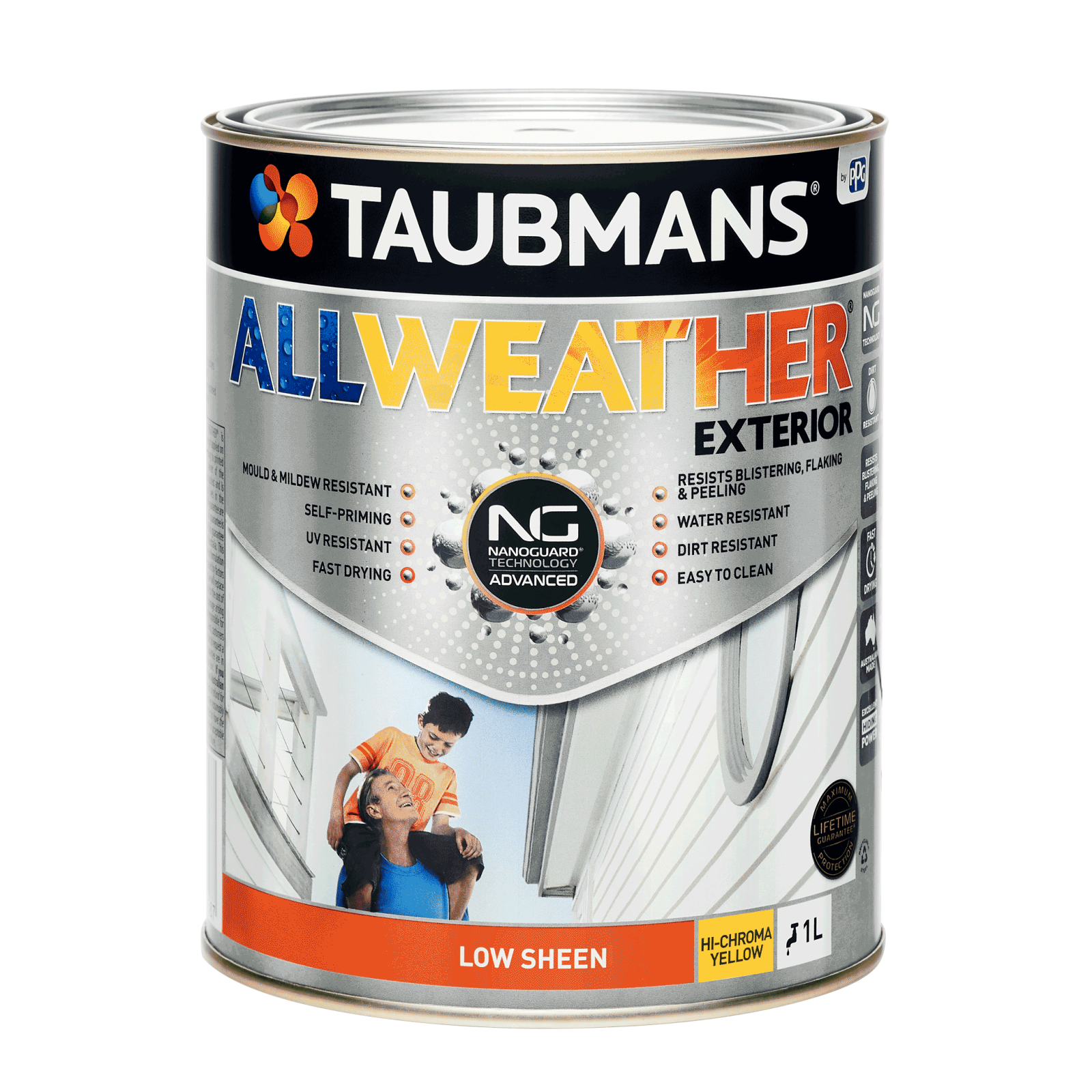 Taubmans 1L Hi C Yellow Low Sheen All Weather Exterior Paint