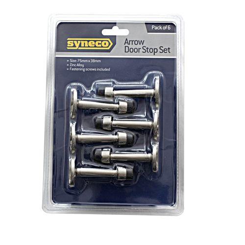 Syneco 6 Piece Brushed Nickel Arrow Door Stop Set