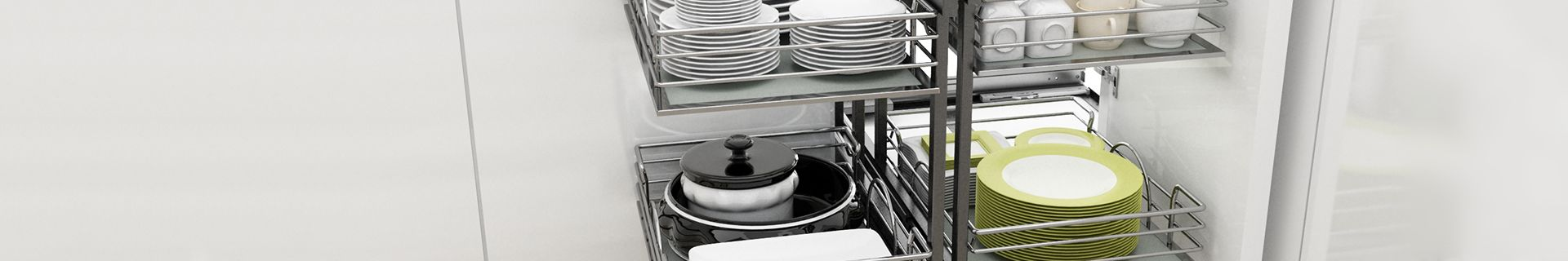 Crockery and kitchenware neatly stacked in kitchen cupboards using Rev-A-Shelf cupboard organisers