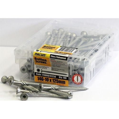 Macsim 125mm Galvanised Batten Screws - 100 Pack