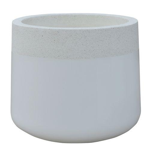 Northcote Pottery 32 x 29cm White Terrazzo Precinct Lite Maxim Drum Planter