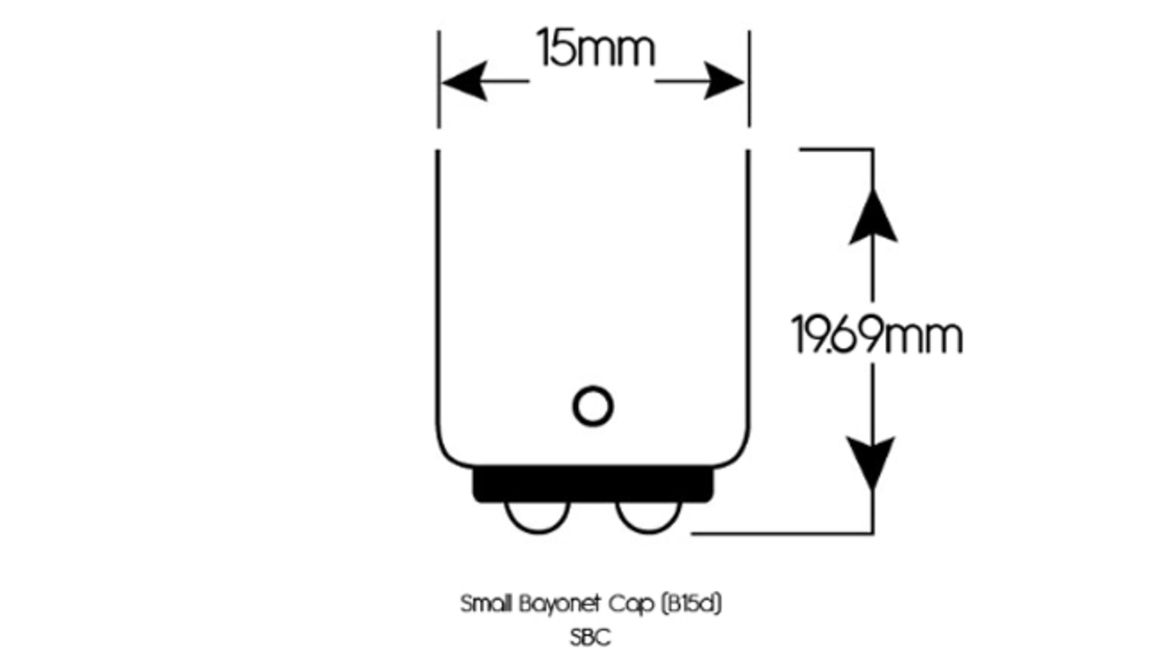 A diagram of a small bayonet cap globe.