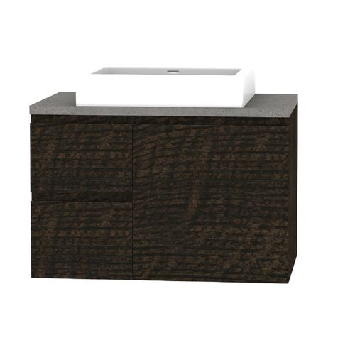 Forme 750mm Mont Albert Wallhung Vanity With Cement Stone Top And Comet Basin - LH Drawers - Dark Chocolate
