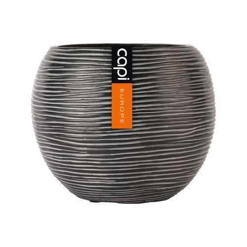 Capi 17 x 14cm Black Rib Ball Vase