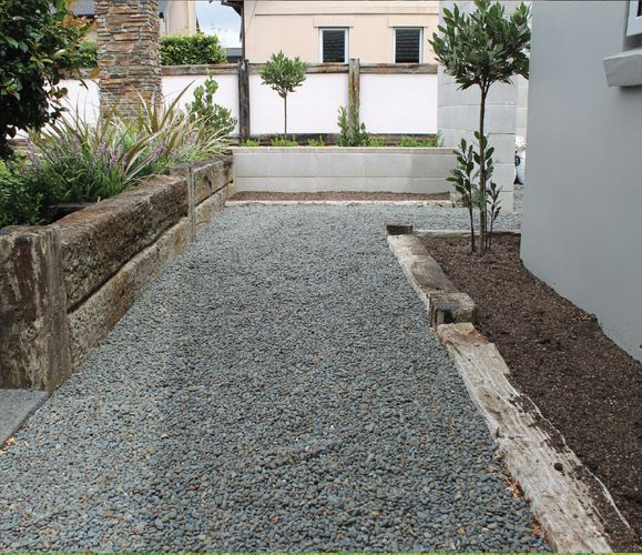 Gravel pathway around the exterior of a house