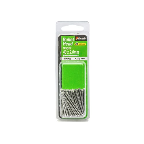 Paslode 40 x 2.0mm 100g Bright Steel Bullet Head Nails - 90 Pack