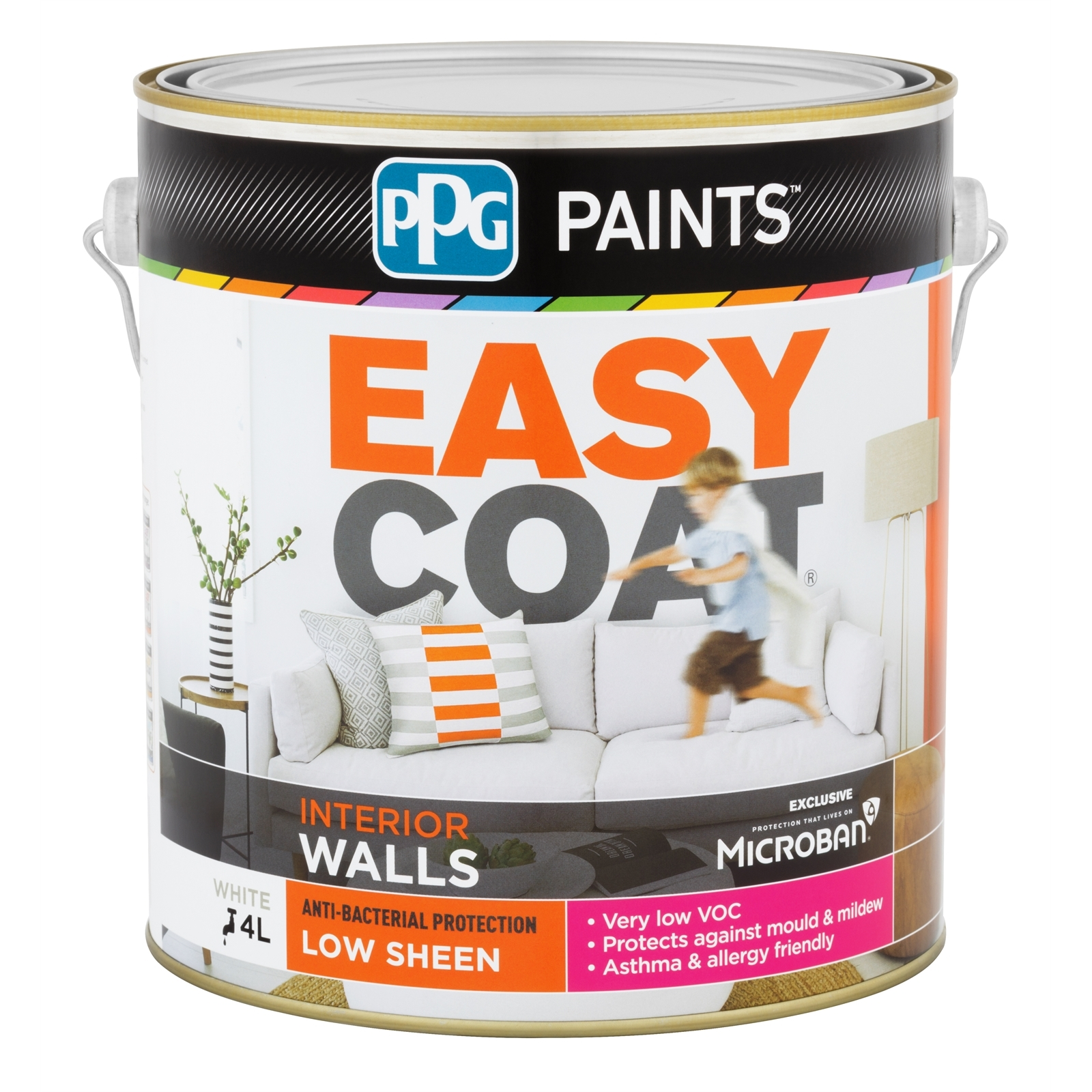 PPG Paints 4L White Low Sheen Easycoat Interior Wall Paint