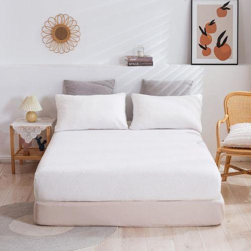 Dreamaker Tedding Fleece Fitted Sheet Set White
