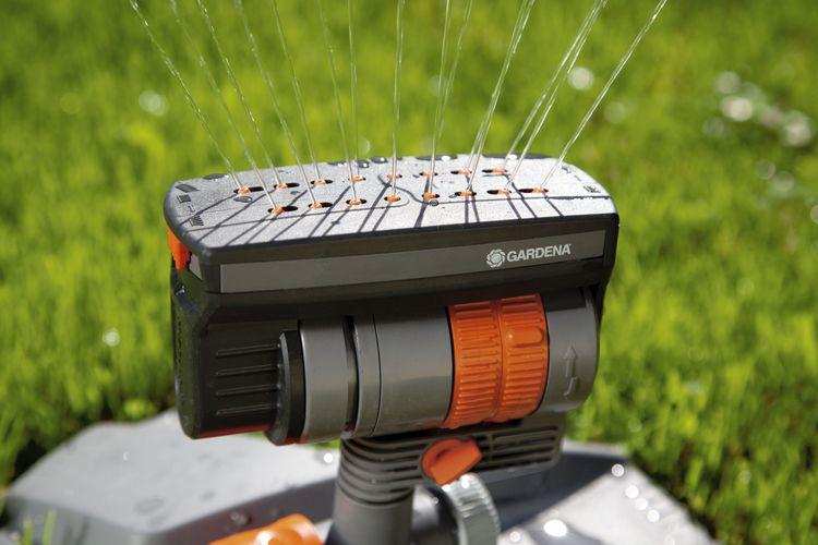 Close-up of a Gardena sprinkler