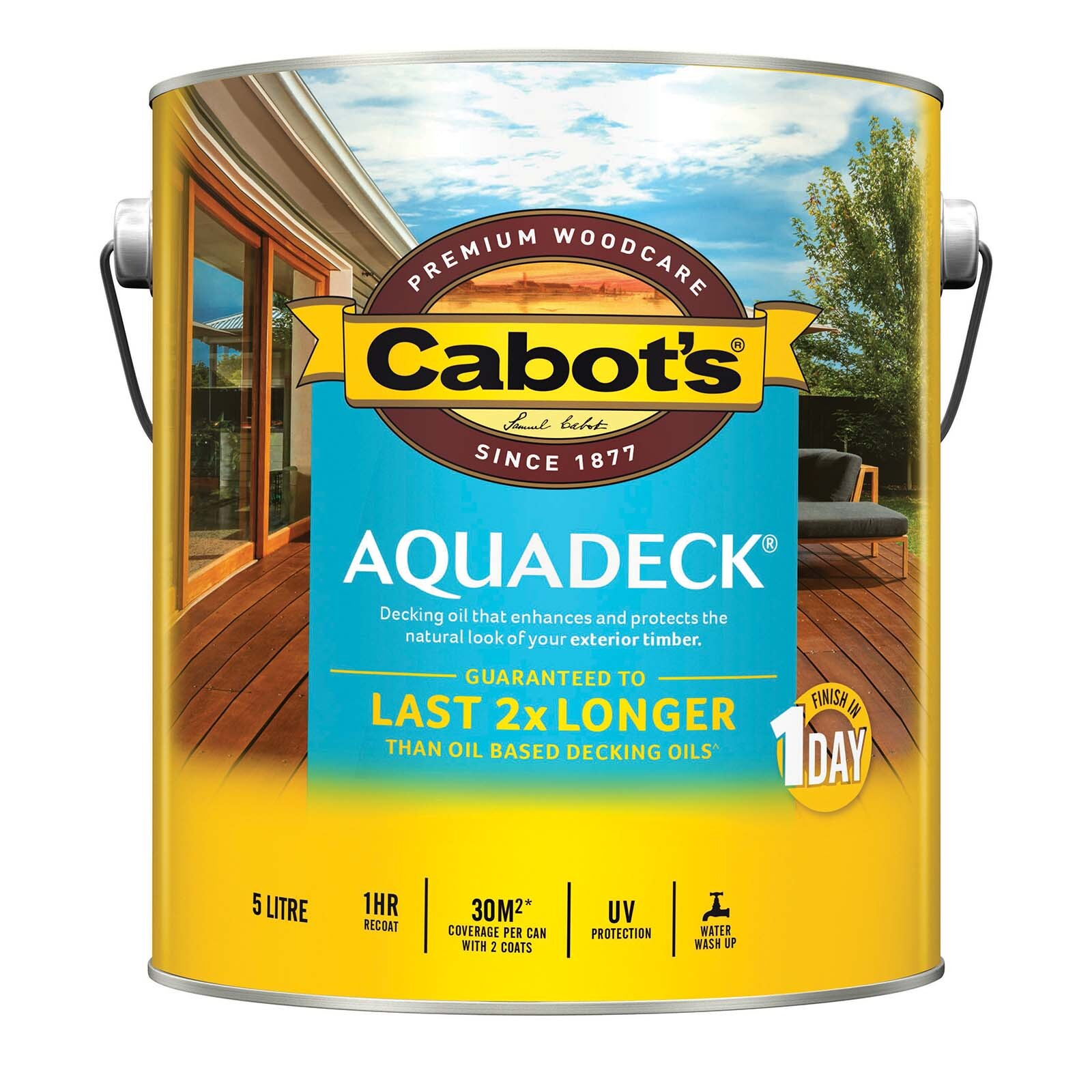 Cabot's 5L Waterbased Amber Aquadeck Decking Oil