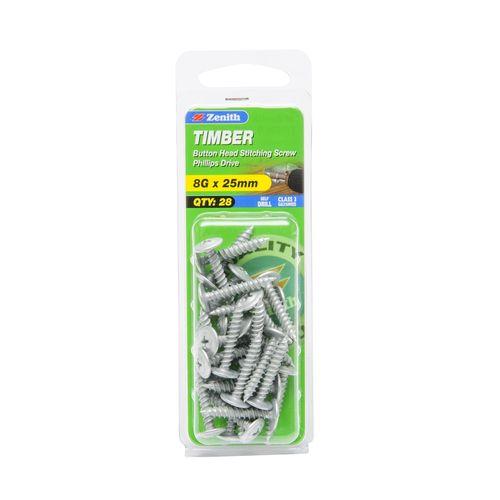 Zenith 8G x 25mm Galvanised Button Head Stitching Timber Screws - 28 Pack