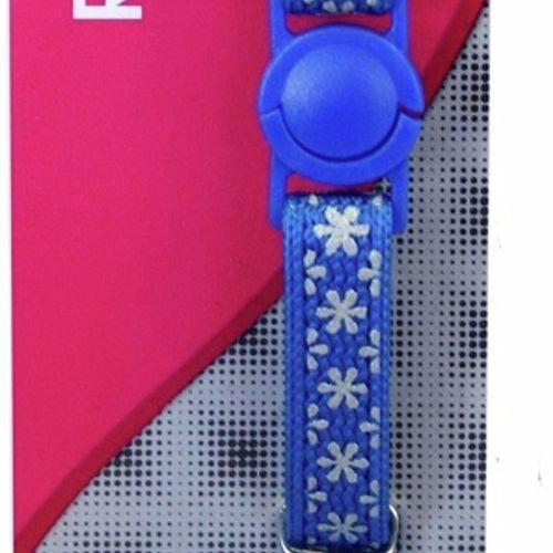 Cat Collar Blue Snow Nylon Reflective - 15cm-22.5cm x 10mm (Pet One)