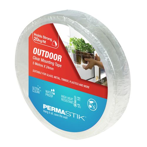 Permastik 24mm x 5m Clear Outdoor Mounting Tape
