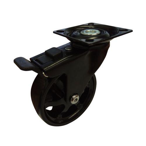 Easyroll 75mm 45kg Black PU Swivel Brake Castor