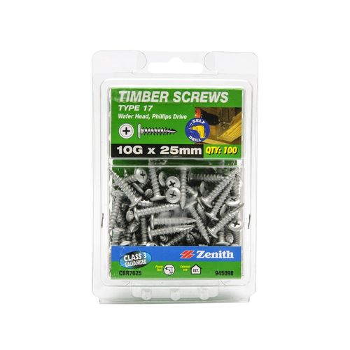 Zenith 10G x 25mm Galvanised Type 17 Wafer Head Timber Screws - 100 Pack