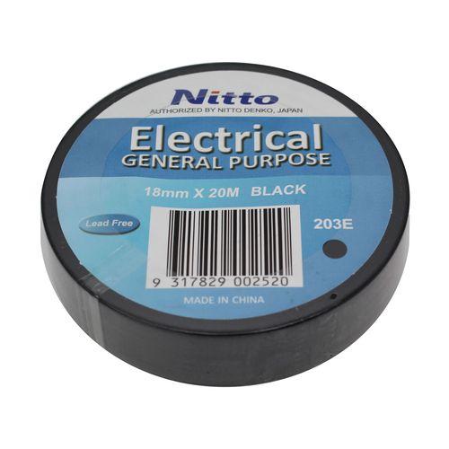 Nitto Denko 18mm x 20m Black PVC Electrical Insulation Tape