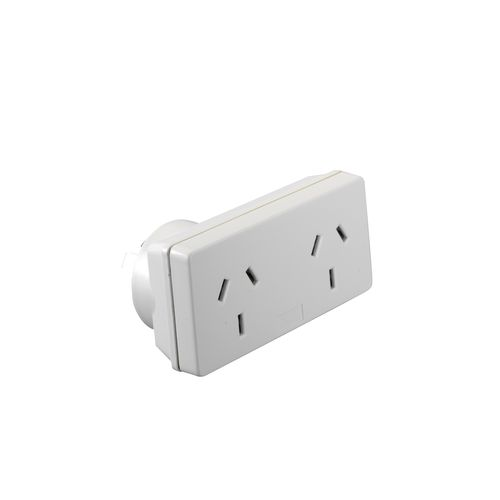 HPM Slimline Double Adaptor Right Projecting White