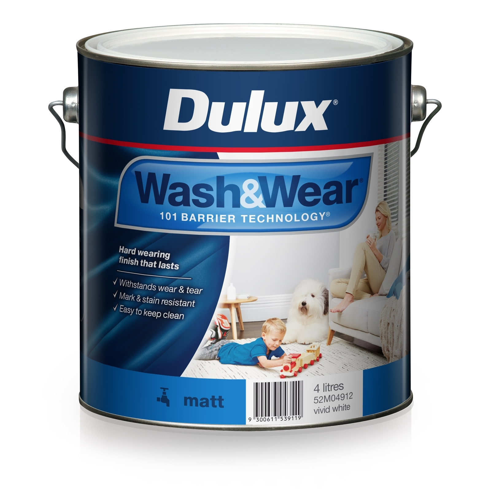 Dulux 4L Interior Paint Wash&Wear Matt Vivid White