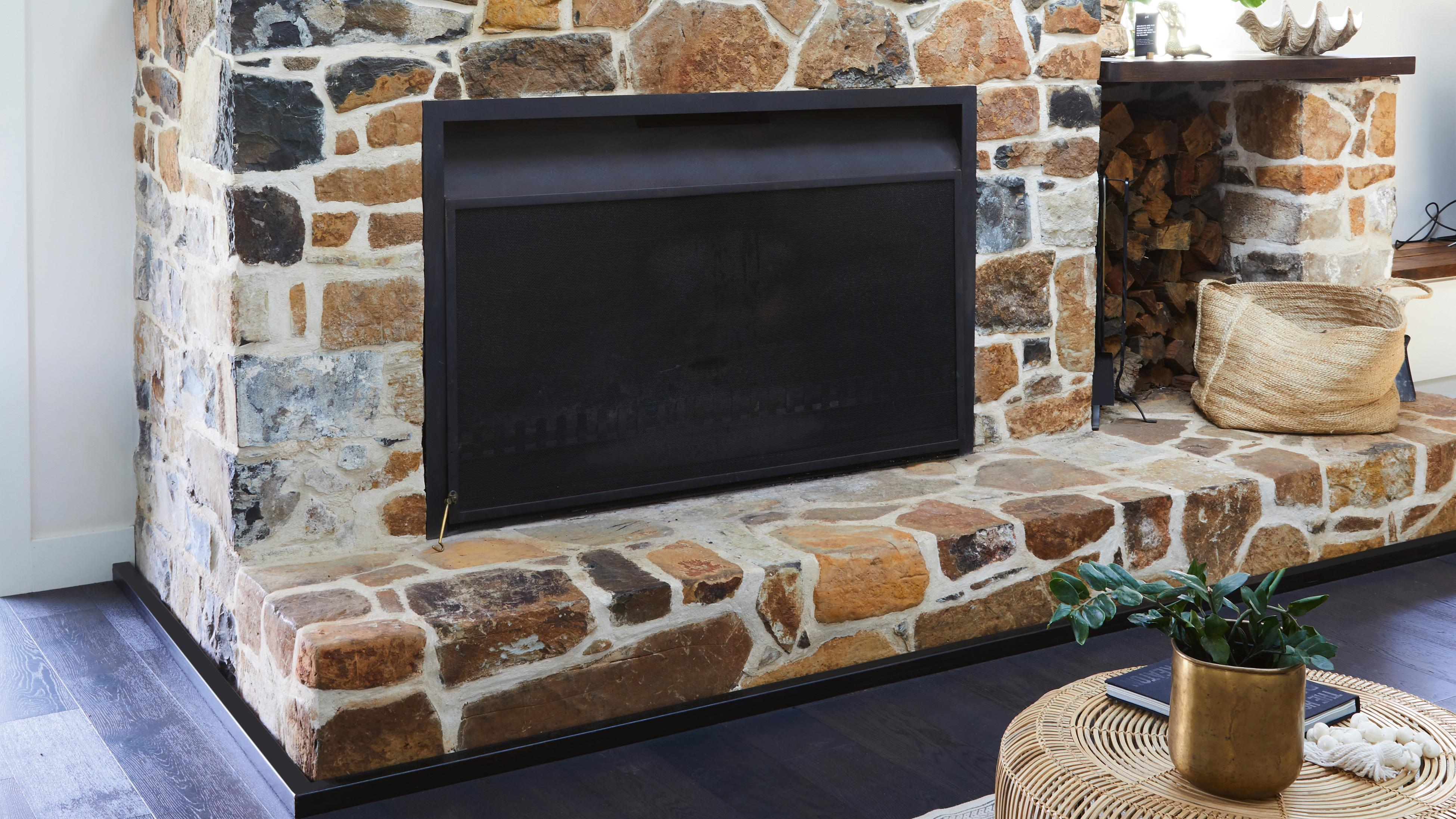 Built-in stone fireplace