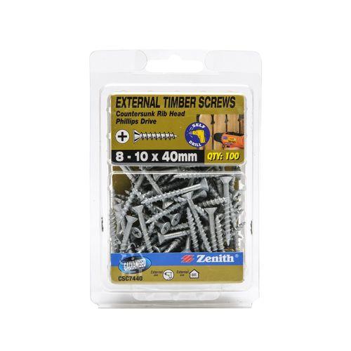 Zenith 8 - 10 x 40mm Galvanised Countersunk Rib Head Timber Screws - 100 Pack