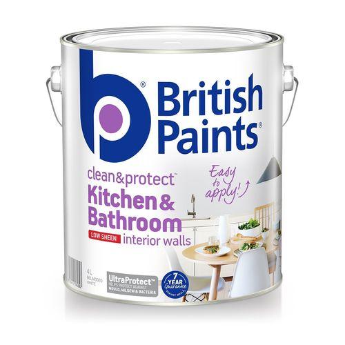 British Paints 4L Clean & Protect Low Sheen White Interior Paint