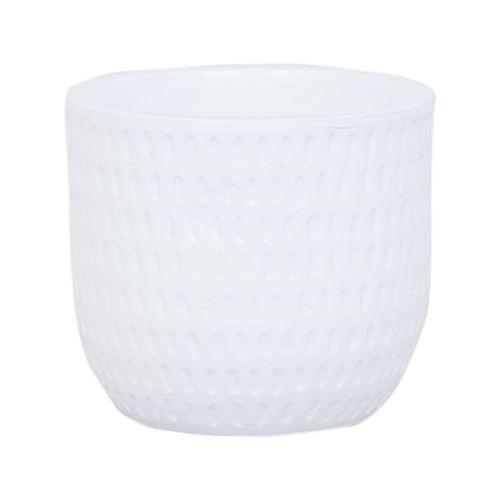 Lotus 18 x 16cm White Dotty Ceramic Pot