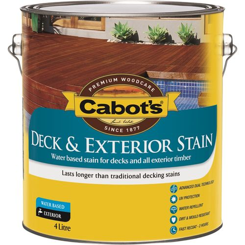 Cabot's 4L Jarrah Water Based Deck And Exterior Timber Stain