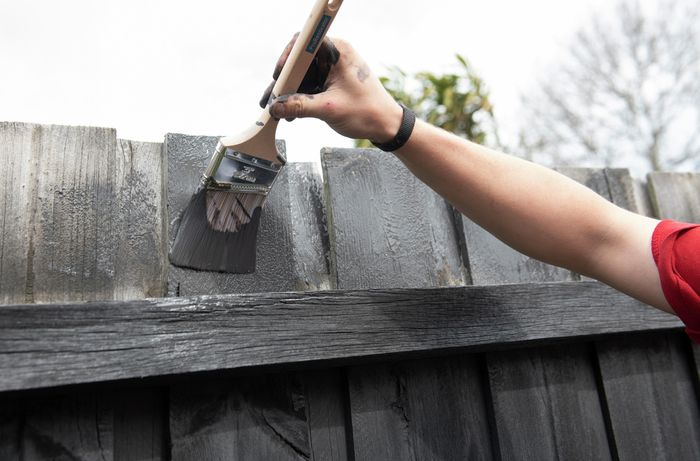 Person painting the top of a fence with a paint brush