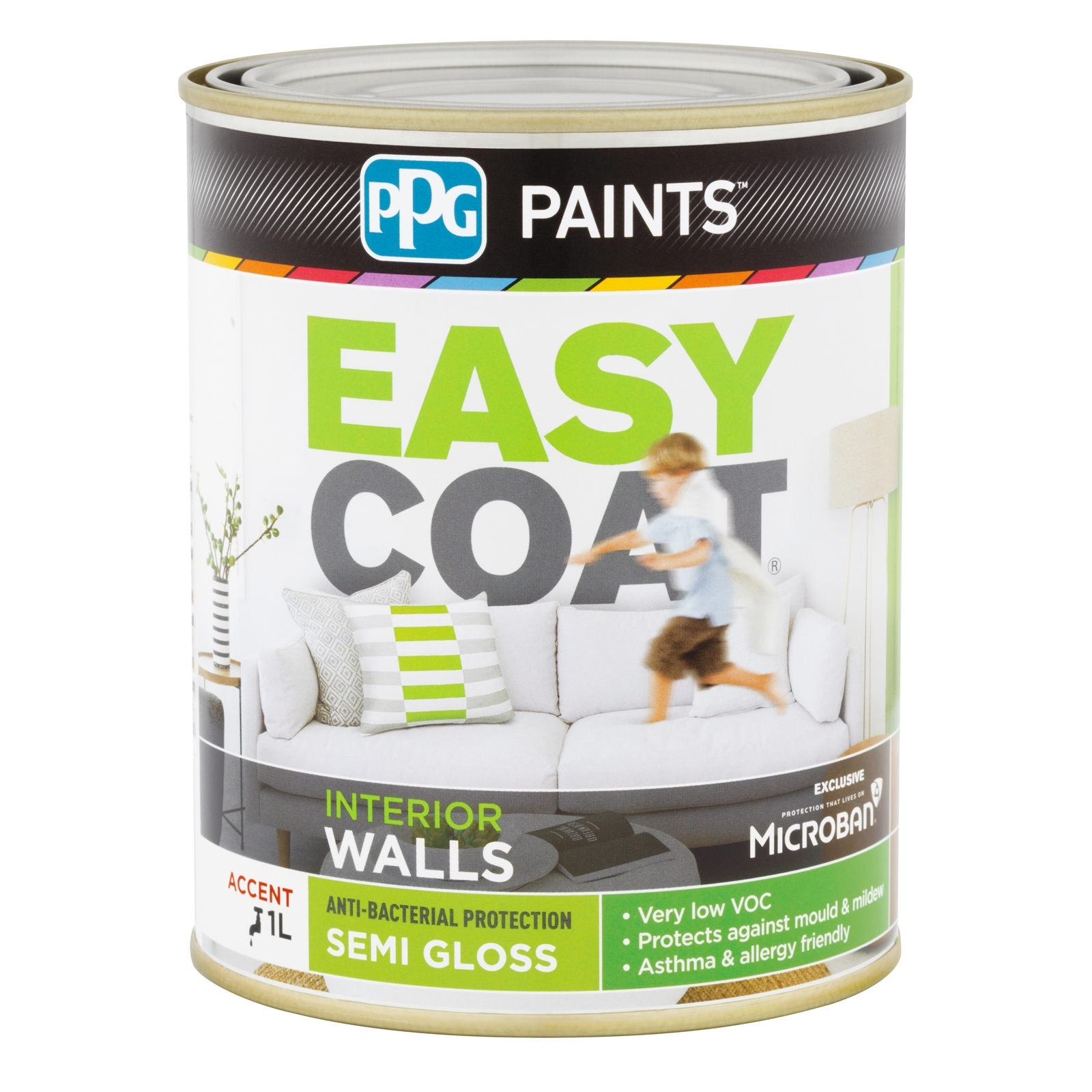 PPG Paints 1L Accent Semi Gloss Easycoat Interior Wall Paint