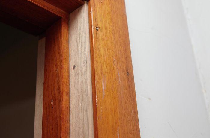 A completed door jamb repair