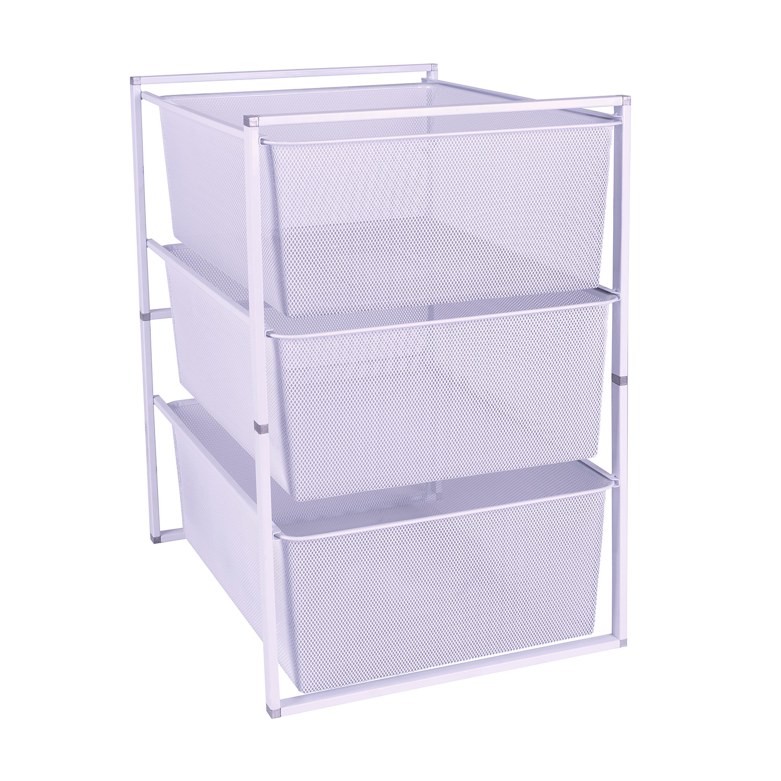 Flexi Storage Home Solutions White 3 Mesh Basket And Frame Kit