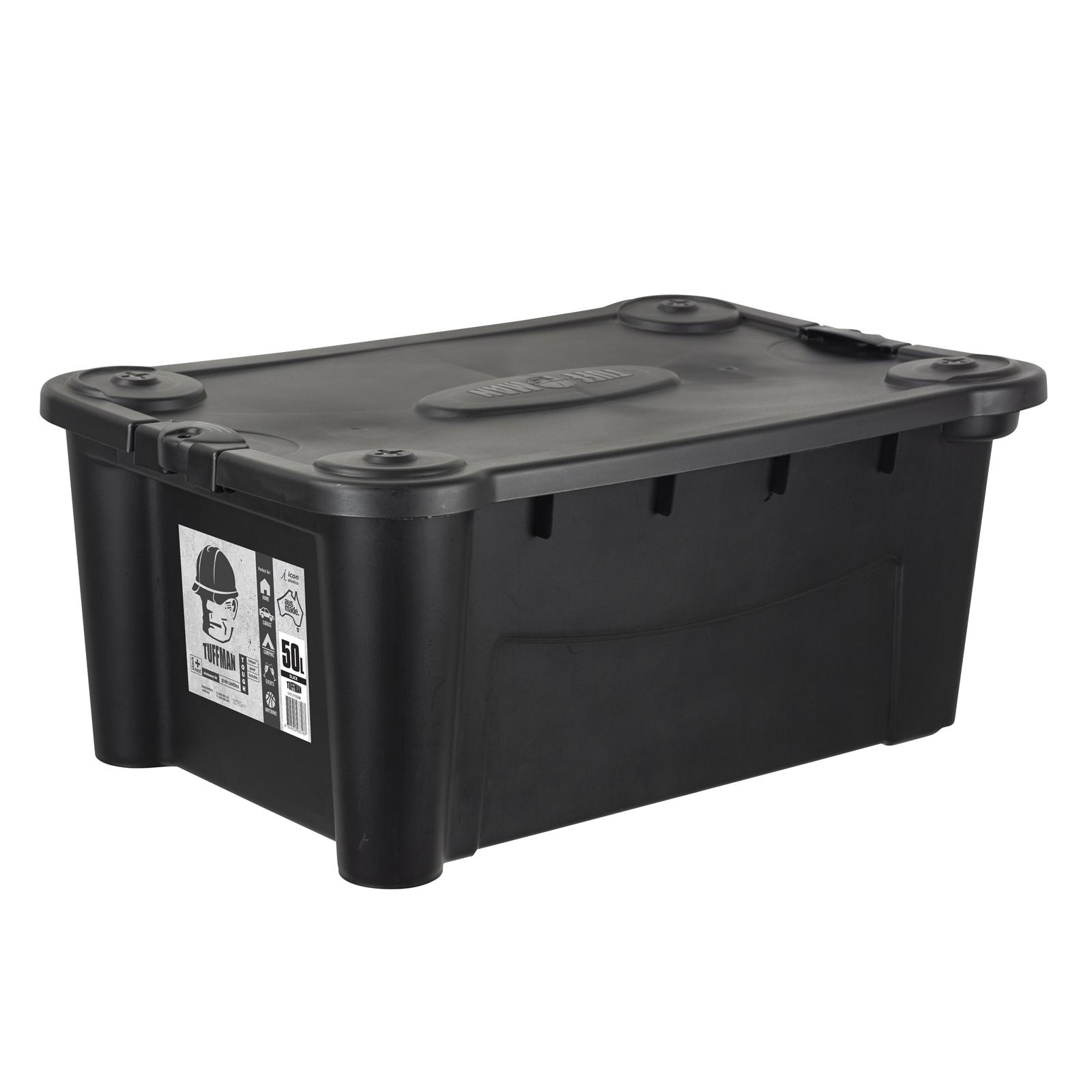 Icon Plastics 50L Black Tuffman Heavy Duty Storage Container