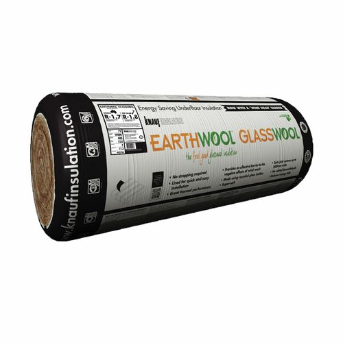 Earthwool glasswool R1.8 75mm x 500mm x10000mm 10m² Underfloor Insulation Roll - Pack Of 2