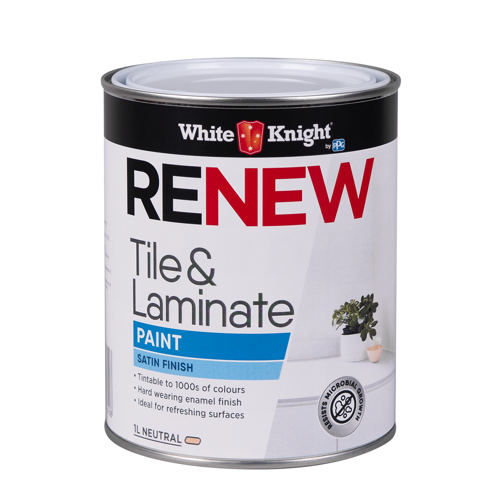 White Knight 1L Neutral Satin Renew Tile And Laminate Paint
