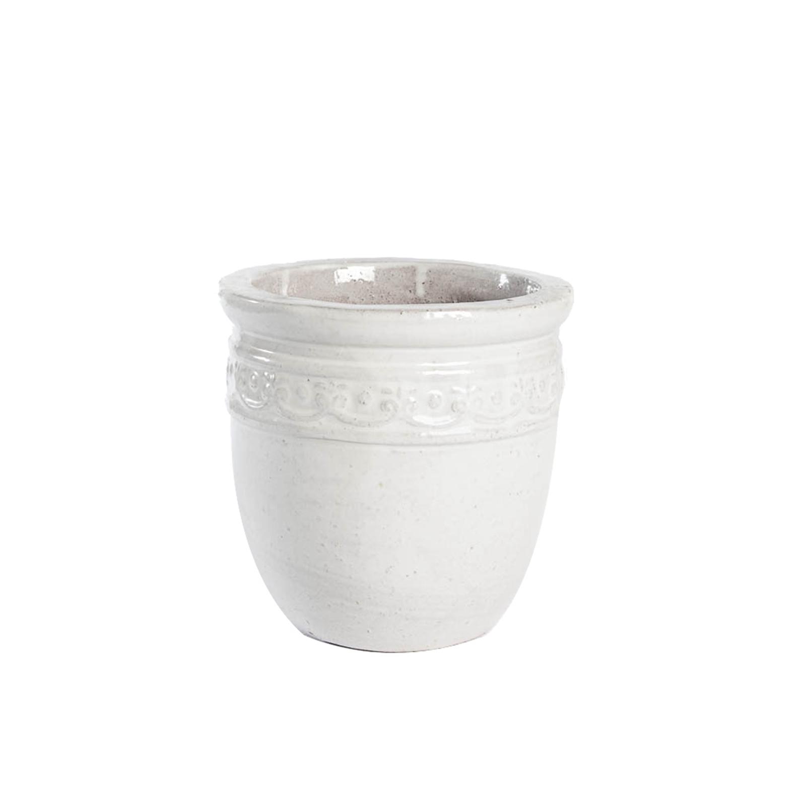 Tuscan Path 52cm White Studded Glazed Pot
