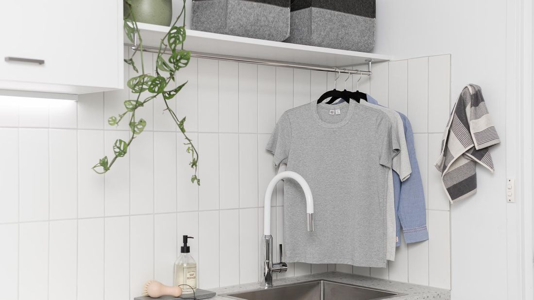 White Splashback Tiles in laundry