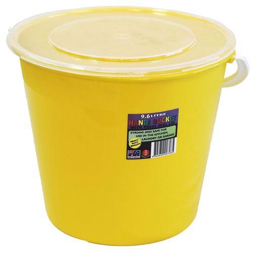 Icon Plastics 9.6L Assorted Colour Plastic Round Bucket With Lid