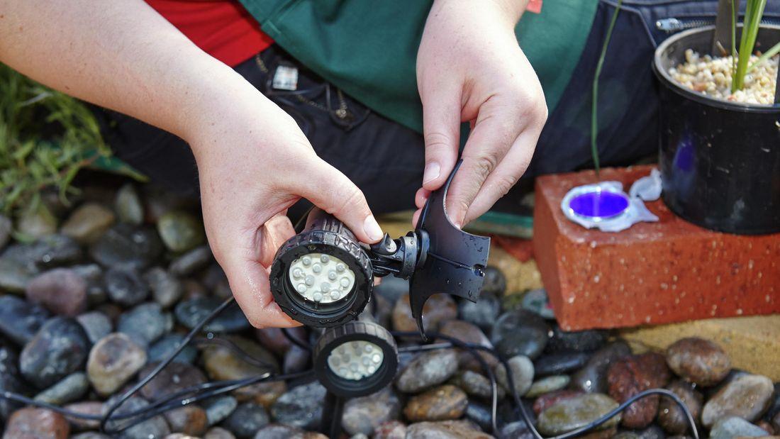 DIY Step Image - How to install pond lights . Blob storage upload.