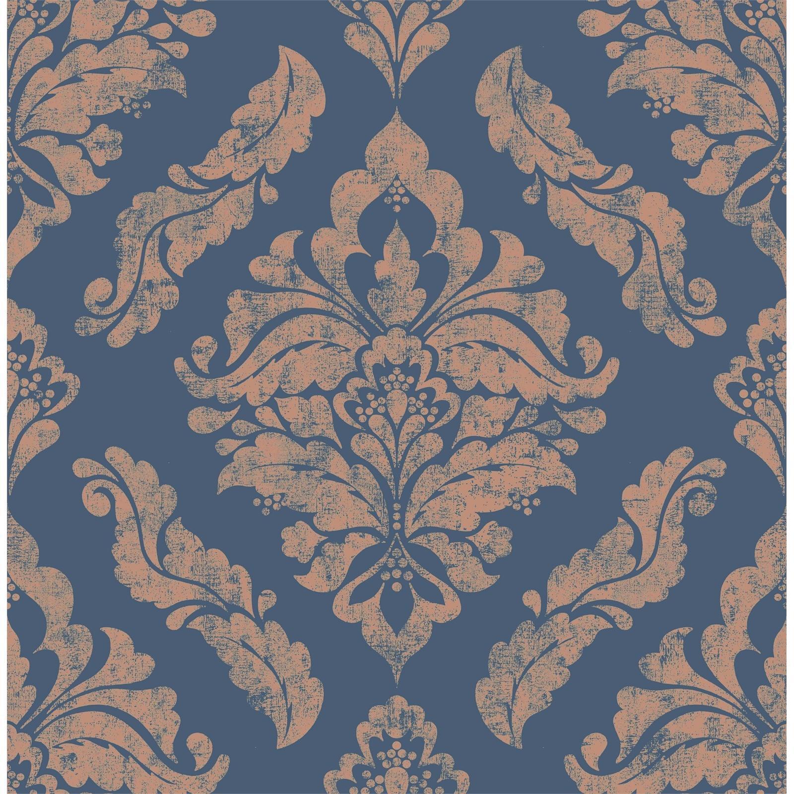 Boutique 52cm x 10m Blue / Gold NWG Damaris Wallpaper