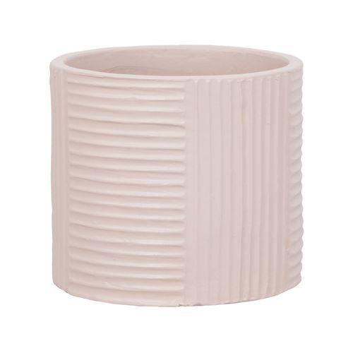 Lotus 23.5 x 21cm Cream Cylinder Ribbed Ceramic Pot